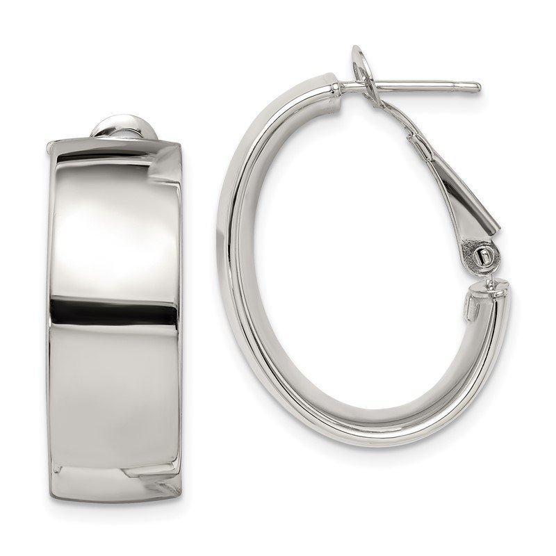 Quality Gold Sterling Silver Polished 10mm Omega Back Hoop Earrings
