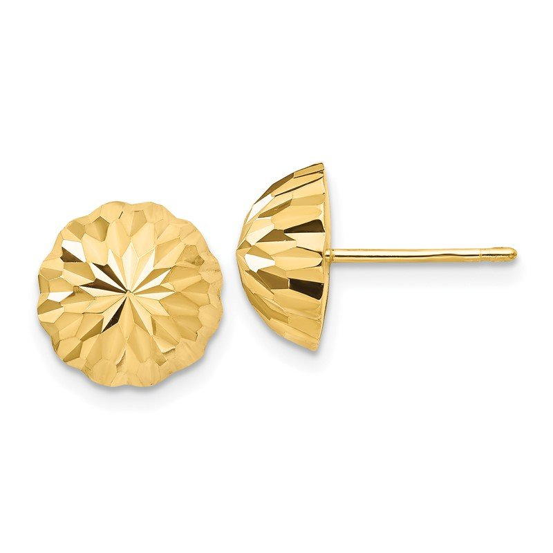 Quality Gold 14k Gold Diamond-cut 10mm Domed Post Earrings