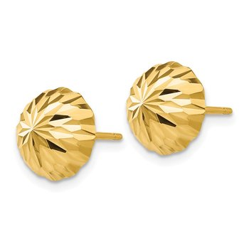 14k Gold Diamond-cut 10mm Domed Post Earrings