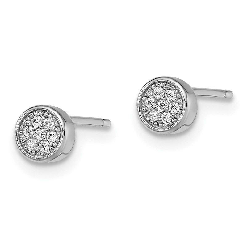 Quality Gold SS Rhodium-Plated CZ Brilliant Embers Polished Post Earrings