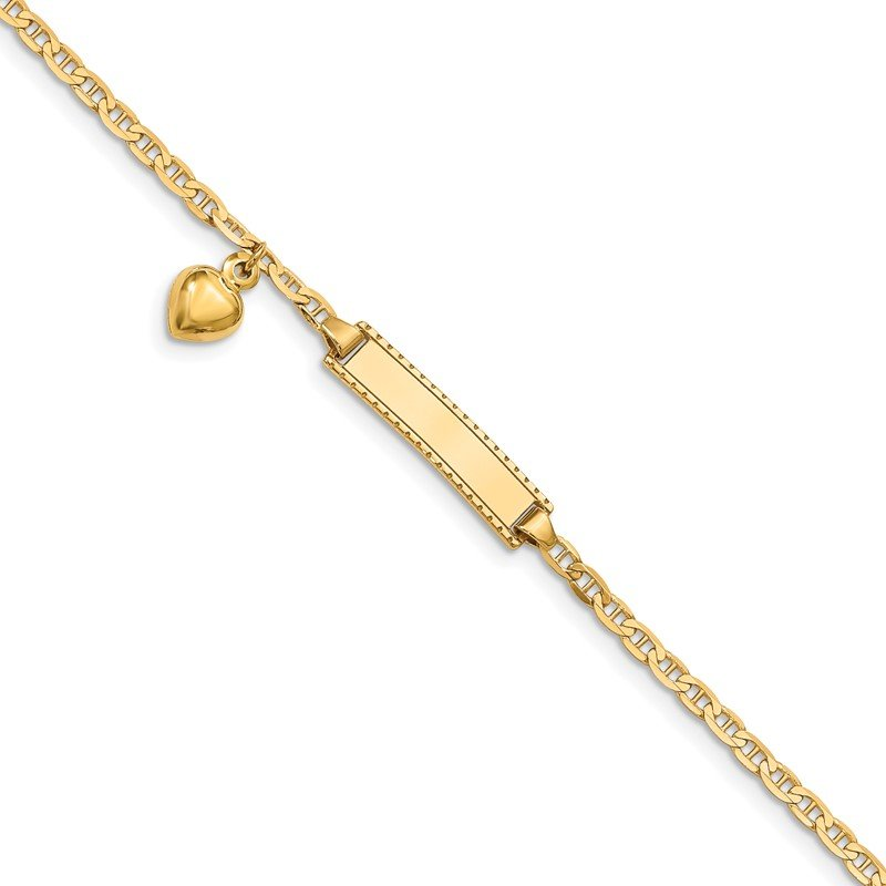 Quality Gold 14k Children's Heart Dangle Anchor Link ID Bracelet