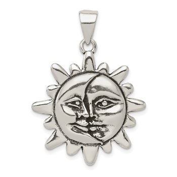 Sterling Silver Antiqued Sun & Half Moon Face Pendant
