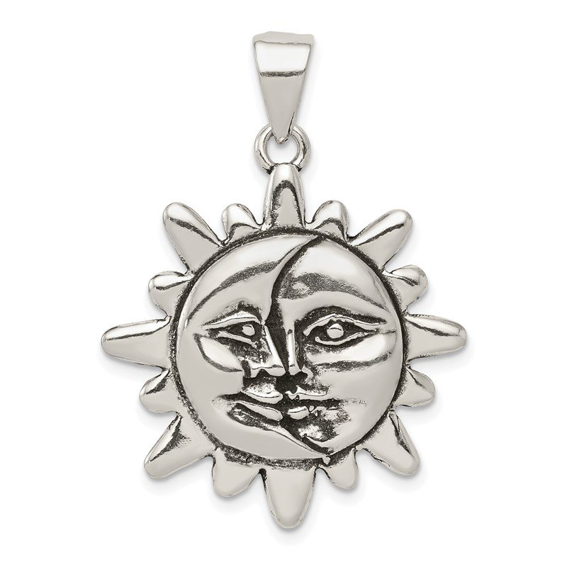 Quality Gold Sterling Silver Antiqued Sun & Half Moon Face Pendant