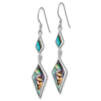 Sterling Silver Rhodium-plated Abalone Dangle Earrings