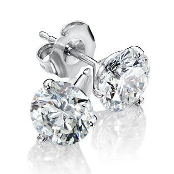 Three Prong Diamond Studs in 14k White Gold (1/7ct. tw.)