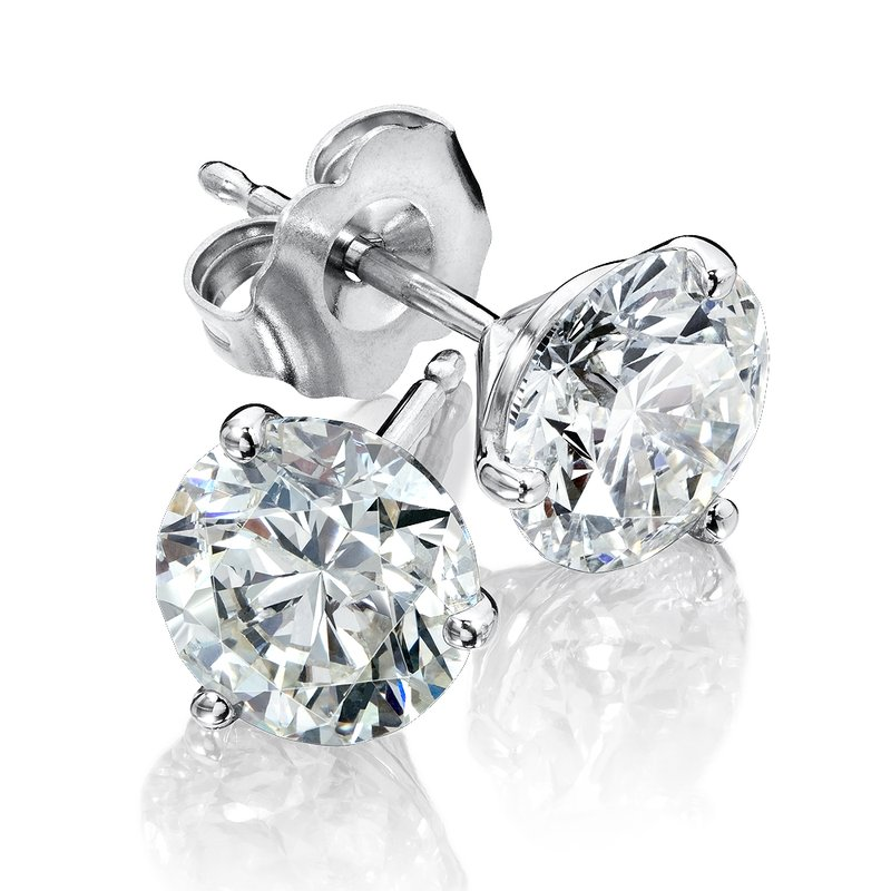 SDC Creations Three Prong Diamond Studs in 14k White Gold (1/7ct. tw.)