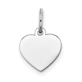 14k White Gold Plain .009 Gauge Engravable Heart Charm