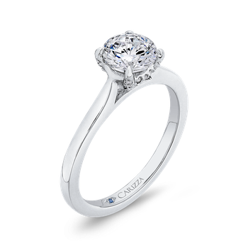 14K White Gold Round Diamond Classic Engagement Ring (Semi-Mount)