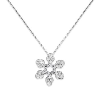Diamond Snowflake Necklace in 14k White Gold with 24 Diamonds weighing .24ct tw.