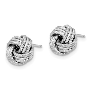 Leslies 14k White Gold Knot Polished D/C Post Earrings