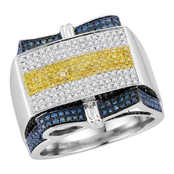 10kt White Gold Mens Round Yellow Blue Color Enhanced Diamond Rectangle Cluster Ring 1.00 Cttw