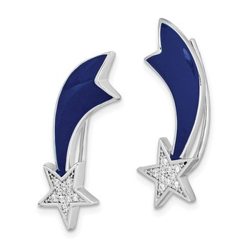 Sterling Silver Rhodium-plated CZ Star Enamel Ear Climber Earrings