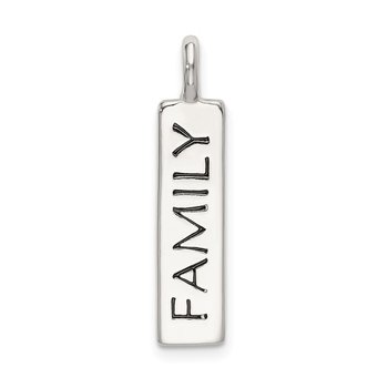 Sterling Silver Polished Enameled FAMILY Pendant