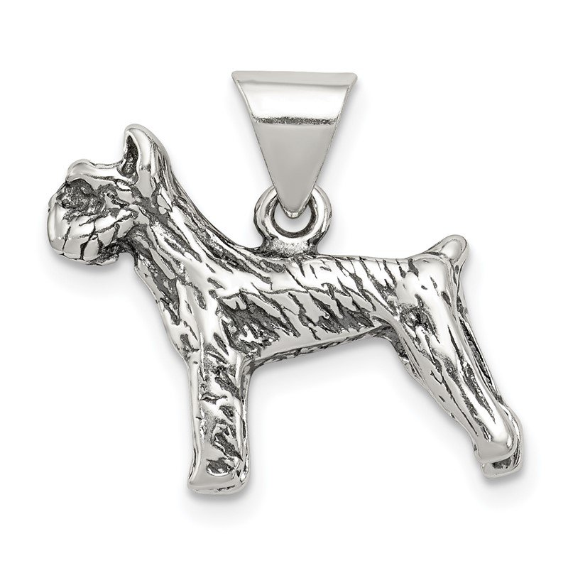 Quality Gold Sterling Silver Antiqued Dog Charm