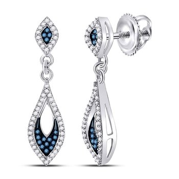 10kt White Gold Womens Round Blue Color Enhanced Diamond Dangle Earrings 1/3 Cttw