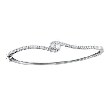 14kt White Gold Womens Round Diamond 2-stone Bypass Bangle Bracelet 3/4 Cttw