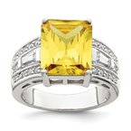 Quality Gold Sterling Silver Yellow & Clear CZ Ring