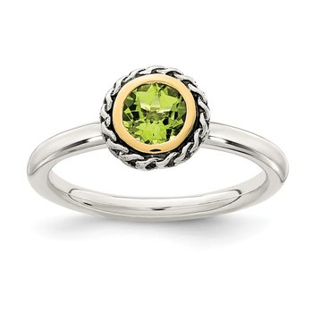 Sterling Silver w/ 14k Polished Peridot Ring