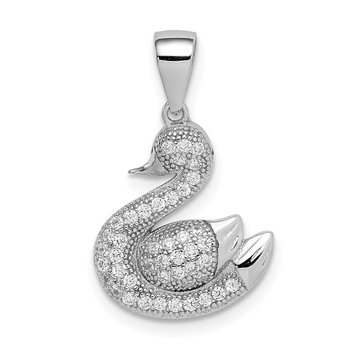Sterling Silver Rhodium-plated Polished Pave CZ Swan Pendant