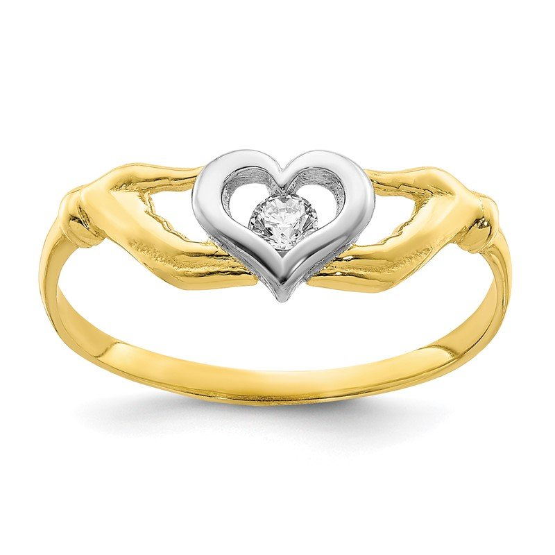 Quality Gold 10K w/Rhodium CZ Claddagh Ring