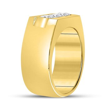 14kt Yellow Gold Mens Round Diamond 3-Stone Wedding Band Ring 1-3/8 Cttw