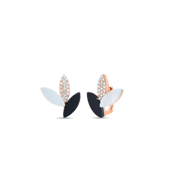 18KT GOLD PETAL EARRINGS WITH DIAMONDS, MOTHER OF PEARL AND BLACK JADE