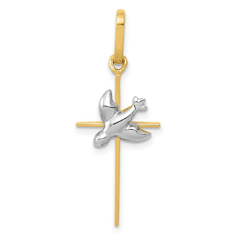 Quality Gold 14k Two-tone Dove Cross Pendant