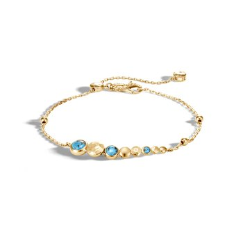Dot Station Bracelet in 18K Gold with Gemstone
