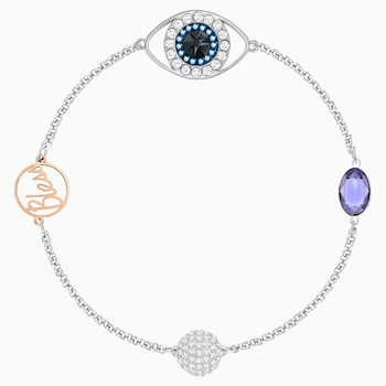 Swarovski Remix Collection Evil Eye Strand, Purple, Mixed metal finish