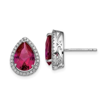 Sterling Silver Rhodium Polished CZ and Lab Created Ruby Pear Post Earrings