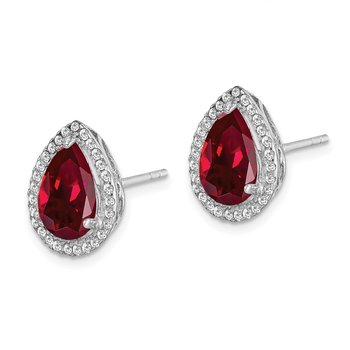 Sterling Silver Rhodium Polished Created Ruby & CZ Post Earrings