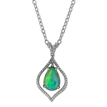 Ethiopian Opal & Diamond Floating Pendant