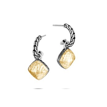Classic Chain Sugarloaf Earring in Silver and Hammered 18K Gold