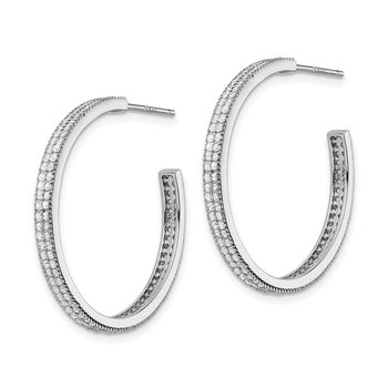 Sterling Silver Rhodium-plated CZ 30x3mm Hoop Earrings