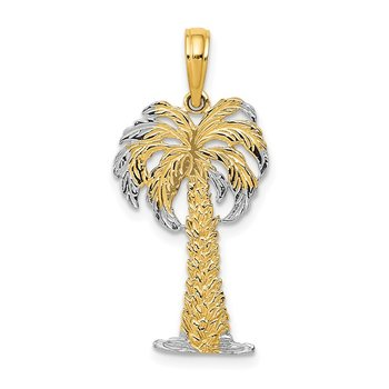 14K w/ Rhodium Polished And Textured Palm Tree Pendant