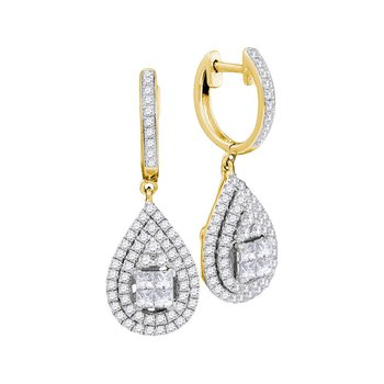 14kt Yellow Gold Womens Princess Round Diamond Teardrop Frame Cluster Earrings 1.00 Cttw