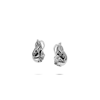 Lahar Buddha Belly Earring in Silver with Diamonds