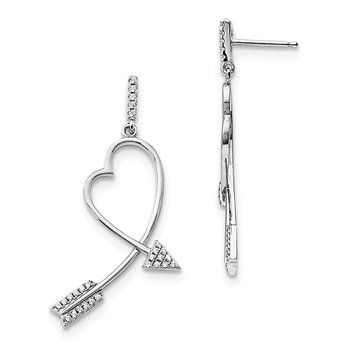 Sterling Silver Brilliant Embers Rhodium-plated CZ Arrow Heart Earrings