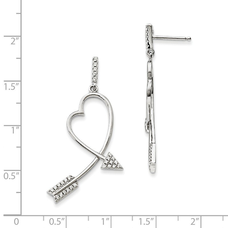 Quality Gold Sterling Silver Brilliant Embers Rhodium-plated CZ Arrow Heart Earrings
