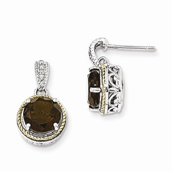 Sterling Silver w/14k Smoky Quartz & Diamond Post Dangle Earrings