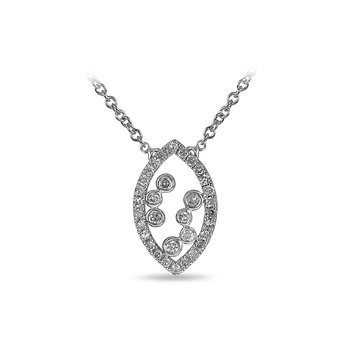 10K WG and diamond Marquise shape necklace with jump ring in split prong and bezel setting