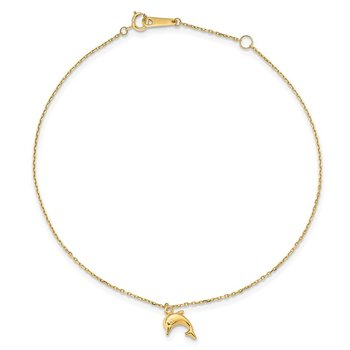 14k Dolphin Charm 9in with 1in Extension Anklet