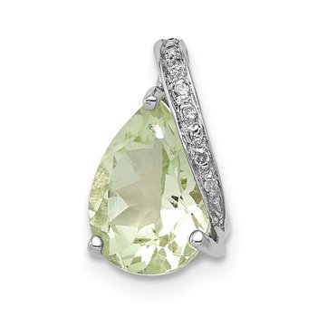 Sterling Silver Rhodium Pear Green Quartz Pendant