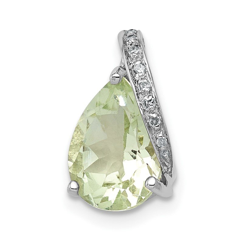 Quality Gold Sterling Silver Rhodium Pear Green Quartz Pendant