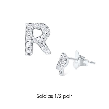 "Diamond Single Initial ""R"" Stud Earring (1/2 pair)"
