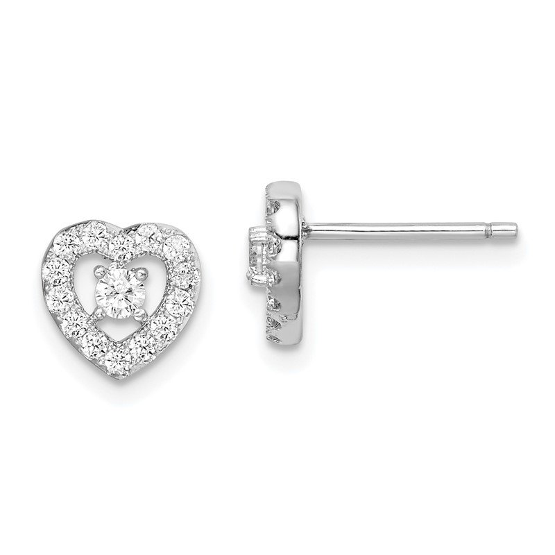 Quality Gold Sterling Silver Rhodium-plated CZ Heart Post Earrings