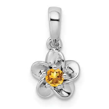 Sterling Silver Rhodium-plated Floral Citrine Pendant