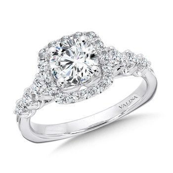 Tapered Cushion-Shaped Halo Diamond Engagement Ring