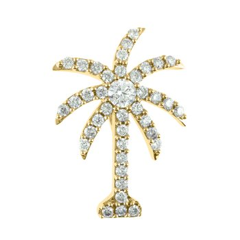 14K Yellow Gold 1 Ct Diamond Palm Tree Pendant