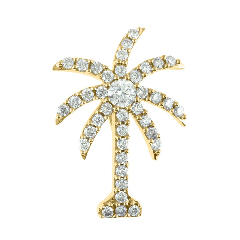 Color Merchants 14K Yellow Gold 1 Ct Diamond Palm Tree Pendant